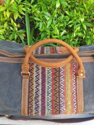 GBD963 Cotton Canvas Duffle Bag Leather Trim