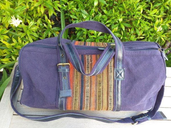 GBD968 Cotton Canvas Duffle Bag Leather Trim