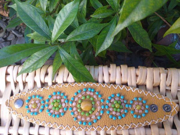 HLB907 Leather Bead Handmade Cuff Bracelet