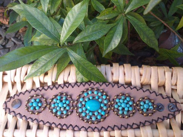 HLB909 Leather Bead Handmade Cuff Bracelet