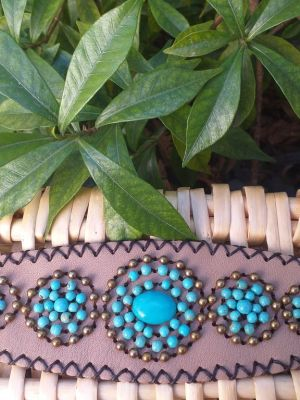HLB909 Leather Bead Handmade Cuff Bracelet