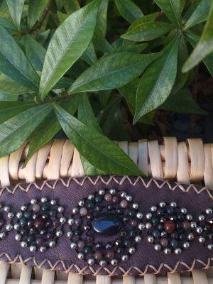 HLB921 Leather Bead Handmade Cuff Bracelet