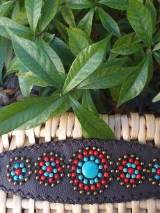 HLB939 Leather Bead Handmade Cuff Bracelet