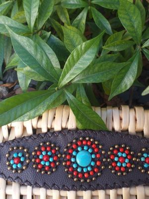 HLB939 Leather Bead Handmade Cuff Bracelet
