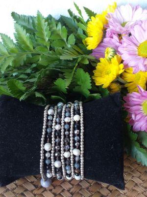 HRB954 Thailand Handmade SemiPrecious Stone Metal Bracelet