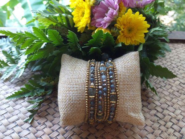 HRB964 Thailand Handmade SemiPrecious Stone Metal Bracelet