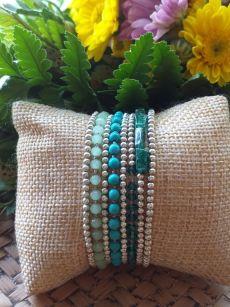 HRB967 Thailand Handmade SemiPrecious Stone Metal Bracelet