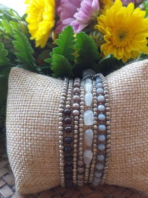HRB969 Thailand Handmade SemiPrecious Stone Metal Bracelet