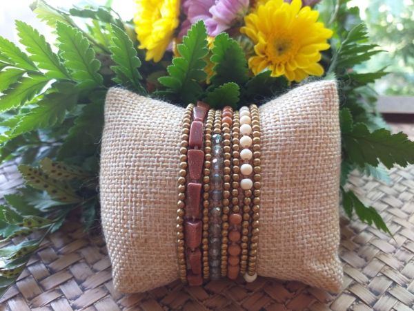 HRB971 Thailand Handmade SemiPrecious Stone Metal Bracelet
