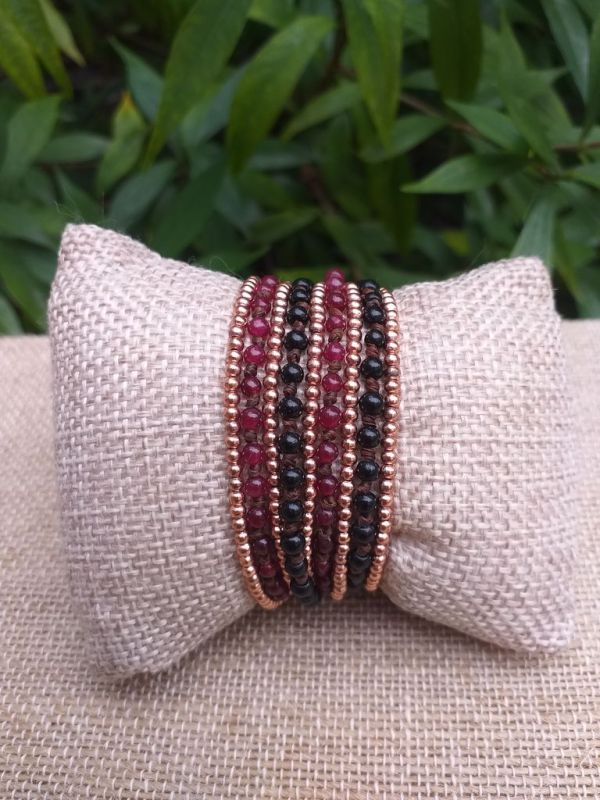 HWB913 Handmade Bead Stone Metal Single Wrap Bracelet