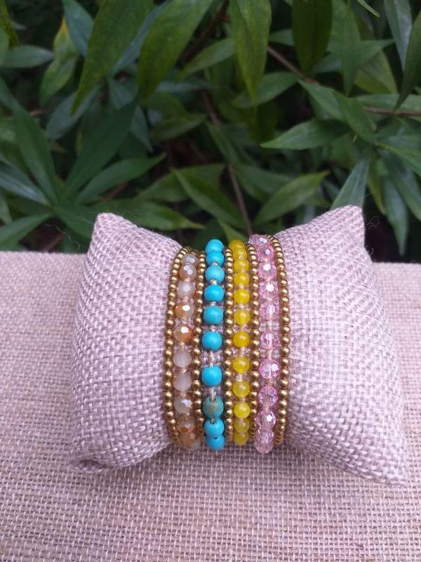 HWB917 Handmade Bead Stone Metal Single Wrap Bracelet