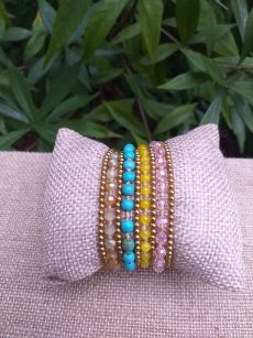 HWB917 Handmade Bead Stone Metal Single Wrap Bracelet