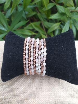 HWB922 Handmade Bead Stone Metal Single Wrap Bracelet