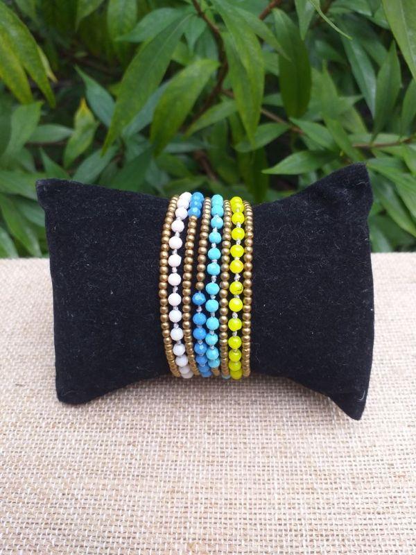 HWB927 Handmade Bead Stone Metal Single Wrap Bracelet