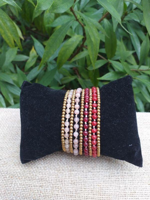 HWB934 Handmade Bead Stone Metal Single Wrap Bracelet