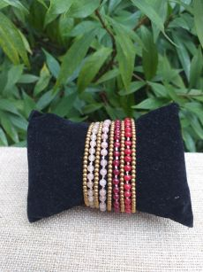 HWB934 Handmade Bead Stone Metal Single Wrap Bracelet