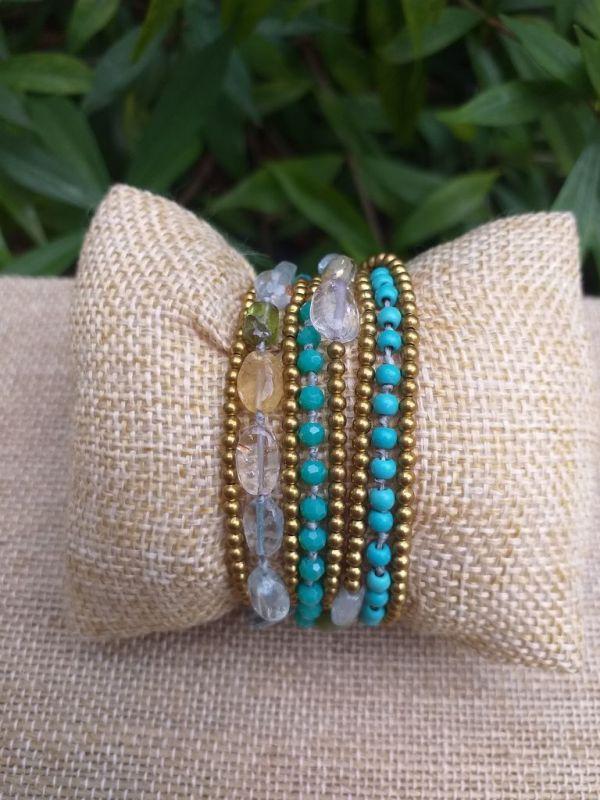 HWB936 Handmade Bead Stone Metal Single Wrap Bracelet