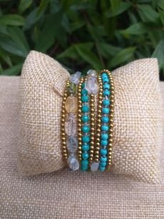 HWB936 Handmade Bead Stone Metal Single Wrap Bracelet