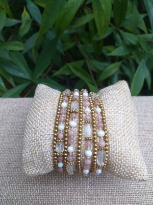 HWB937 Handmade Bead Stone Metal Single Wrap Bracelet