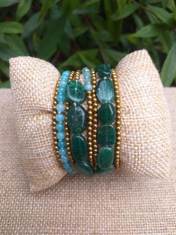 HWB939 Handmade Bead Stone Metal Single Wrap Bracelet
