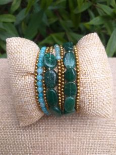 HWB939 Handmade Bead Stone Metal Single Wrap Bracelet