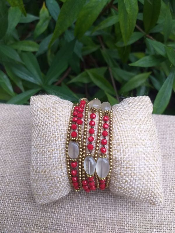 HWB941 Handmade Bead Stone Metal Single Wrap Bracelet