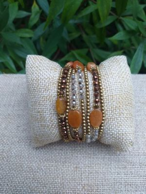 HWB946 Handmade Bead Stone Metal Single Wrap Bracelet