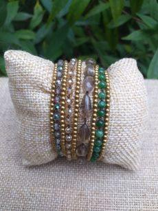 HWB948 Handmade Bead Stone Metal Single Wrap Bracelet