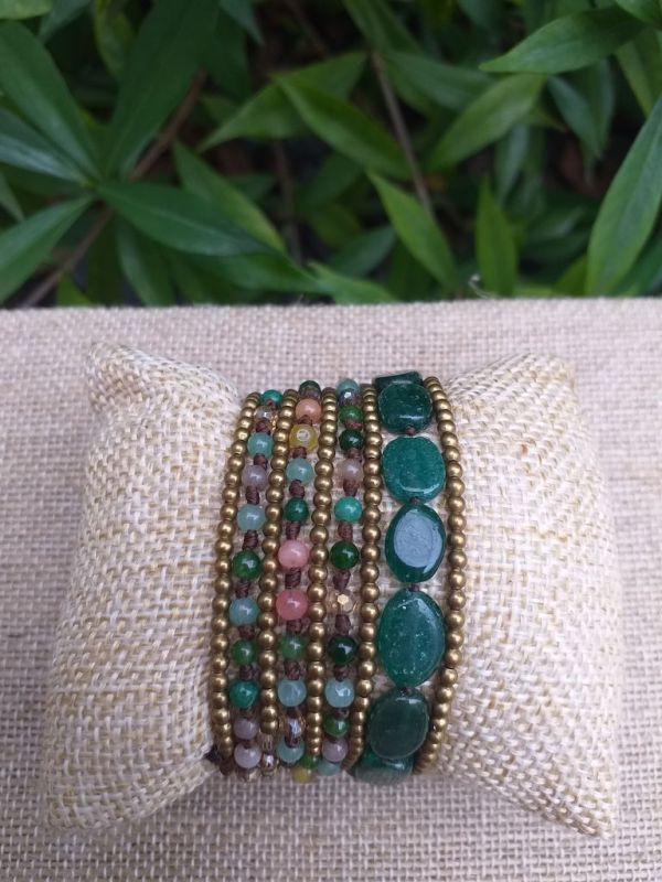 HWB949 Handmade Bead Stone Metal Single Wrap Bracelet