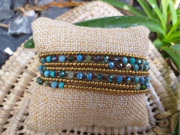 HWB954 Handmade Bead Stone Metal Single Wrap Bracelet