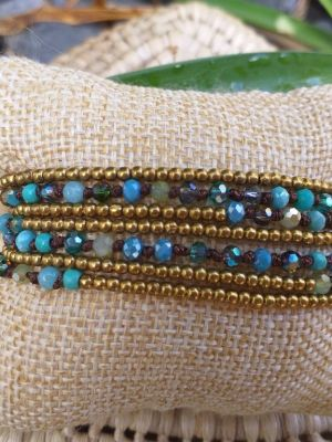 HWB954 Handmade Bead Stone Metal Single Wrap Bracelet