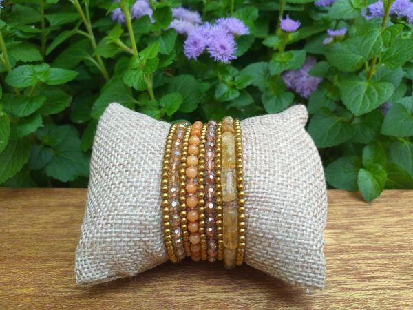 HWB957 Thailand Unique Stone Metal Bead Bracelet