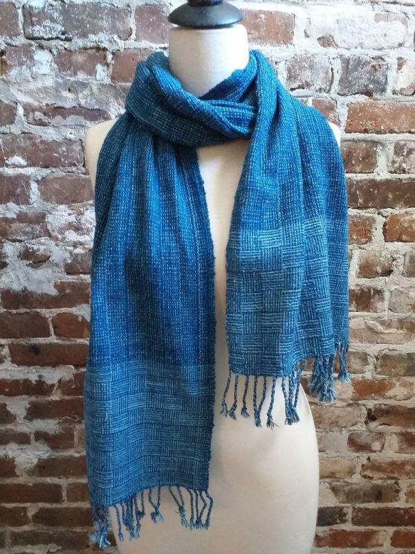 IDD903A Hand Woven Cotton Natural Indigo Dye Scarf