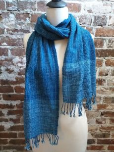 IDD903A Hand Woven Cotton Natural Indigo Dye Scarf