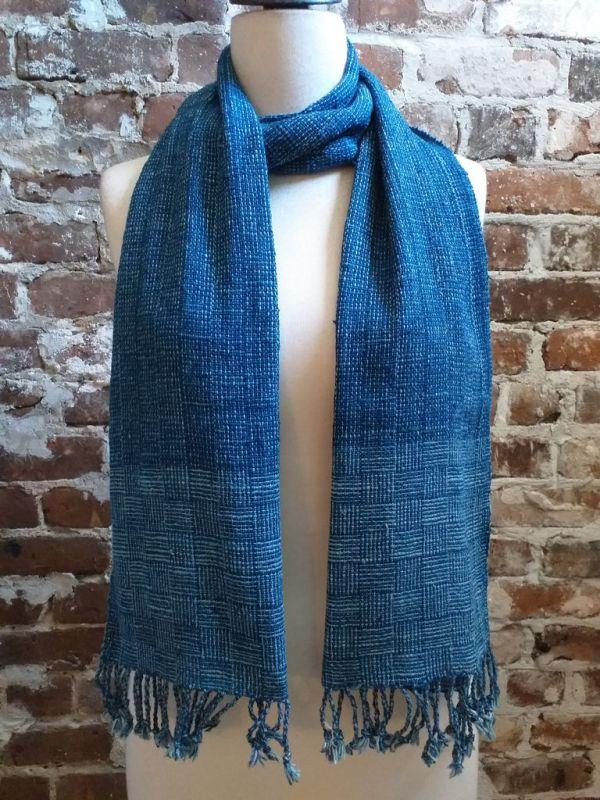 IDD903B Hand Woven Cotton Natural Indigo Dye Scarf