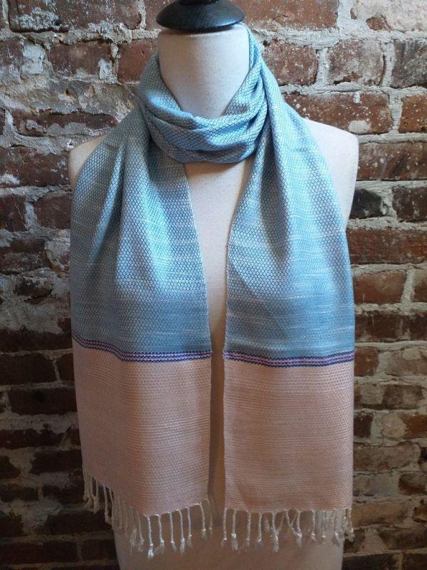 IGD904B Hand Woven Rayon Natural Indigo Dye Scarf