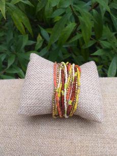 JRB910a Handmade Bead Stone Metal Multi Wrap Bracelet