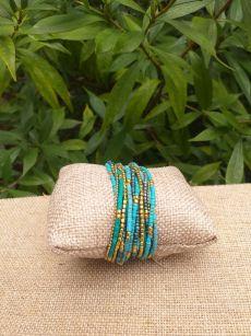 JRB916a Handmade Bead Stone Metal Multi Wrap Bracelet