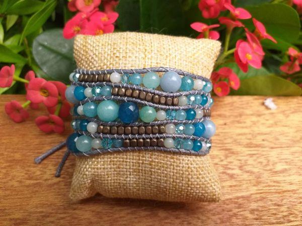 JVB642b Thailand Handmade Stone Bead String Metal Bracelet