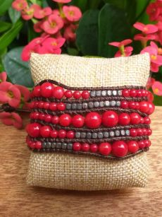 JVB642r Thailand Handmade Stone Bead String Metal Bracelet