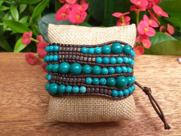 JVB642t Thailand Handmade Stone Bead String Metal Bracelet