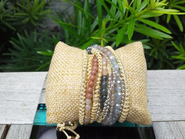 JWB008 Thailand Handmade Stone Bead String Metal Bracelet