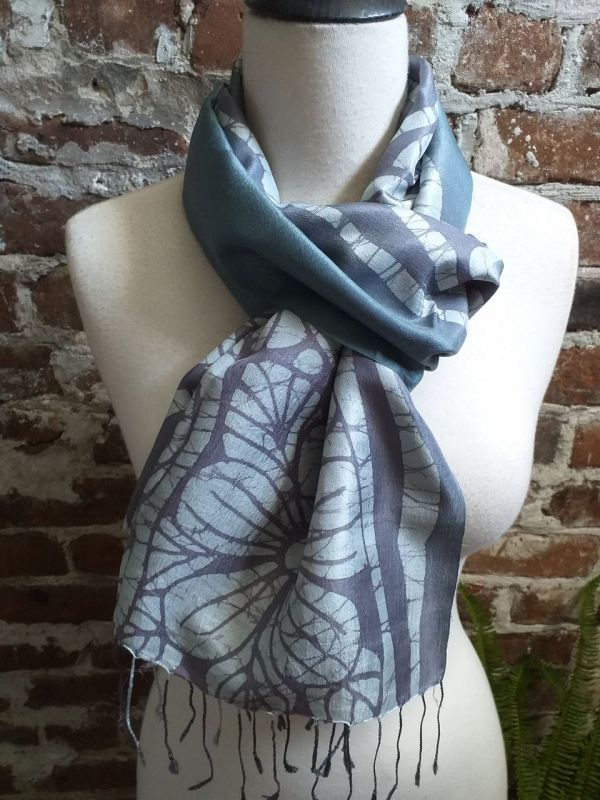KED550a 100 Silk Hand Batik Shawl Scarf