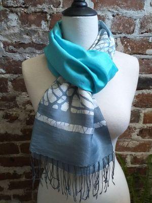 KED558b 100 Silk Hand Batik Shawl Scarf