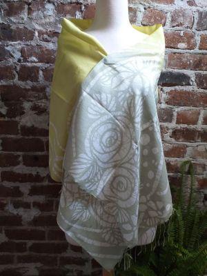 KED686c 100 Silk Hand Batik Shawl Scarf