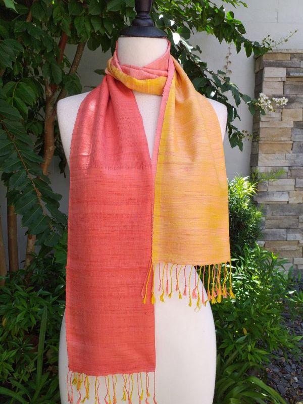 NCD002a Thai Silk Hand Woven Colorful Scarf