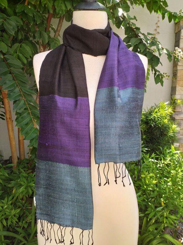 NDD713a Thai Silk Hand Woven Colorful Scarf