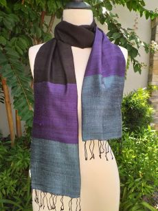 NDD713a Thai Silk Hand Woven Colorful Scarf
