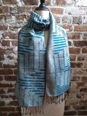 NMS677a Thai Silk Hand Woven Colorful Shawl