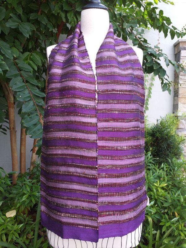 NNC512a Thai Silk Hand Woven Colorful Scarf